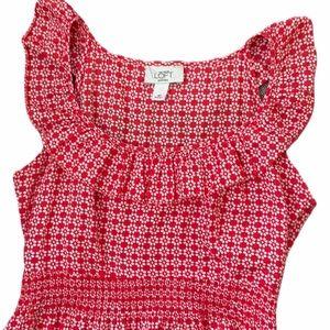 LOFT Geometric Flower Pattern Red Spring Dress